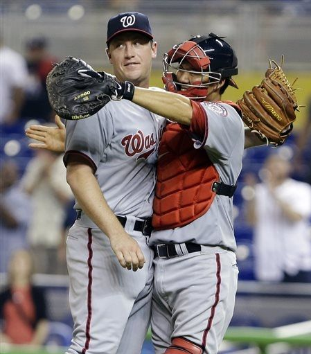 Jordan Zimmermann knows that in Kurt Suzuki's embrace, he will find a new definition of pain and suffering as he is slowly hugged to death over a thousand years.